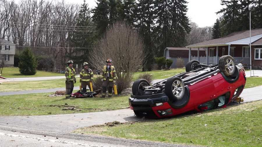 One person was taken away in an ambulance after an accident involving two SUVs on School Road in Murrysville.