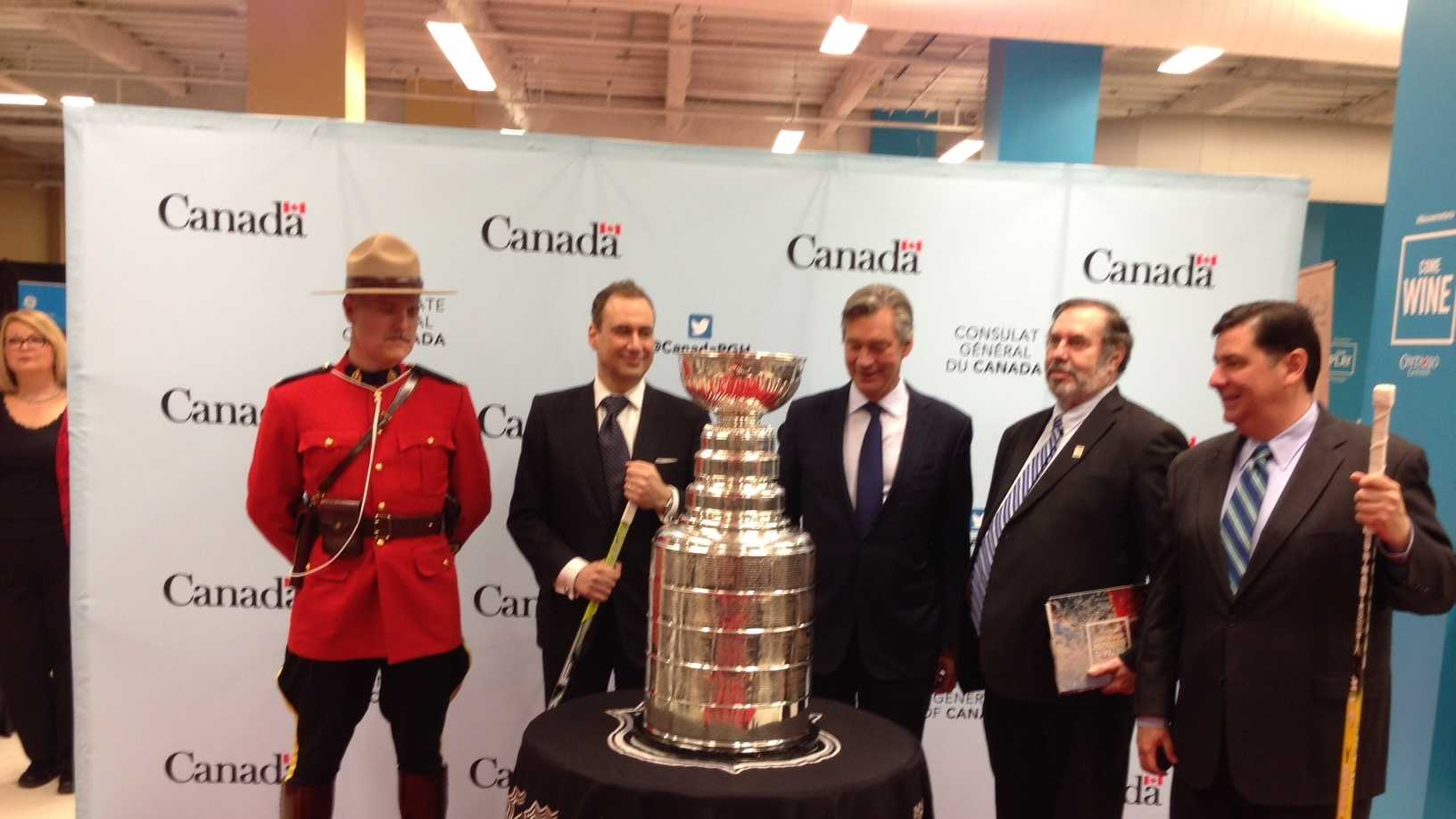 Pop-Up Canada! is a celebration of Pittsburgh's relationship with Canada. Pictured left to right: A Royal Canadian Mounted Police member&#x3B; John Prato, Consul General of Canada&#x3B; Gary Doer, Ambassador of Canada to the U.S.&#x3B; Leo Gerard, United Steelworkers president&#x3B; Mayor Bill Peduto.