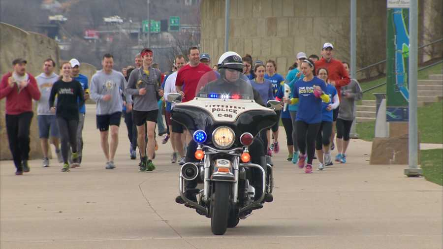 More than 40 runners were expected Tuesday for a 4.5-mile group run on the North Shore in Pittsburgh.