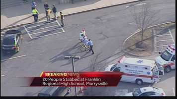 Images from the scene at Franklin Regional High School, where several people were stabbed on Wednesday morning.