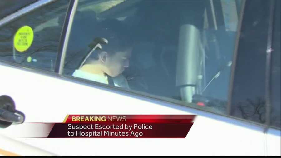 Images of a suspect in custody from Wednesday's stabbings at Franklin Regional High School. The suspect was seen in the back seat of a police cruiser.