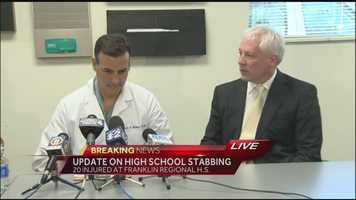 A medical briefing on the condition of the victims following the stabbings.