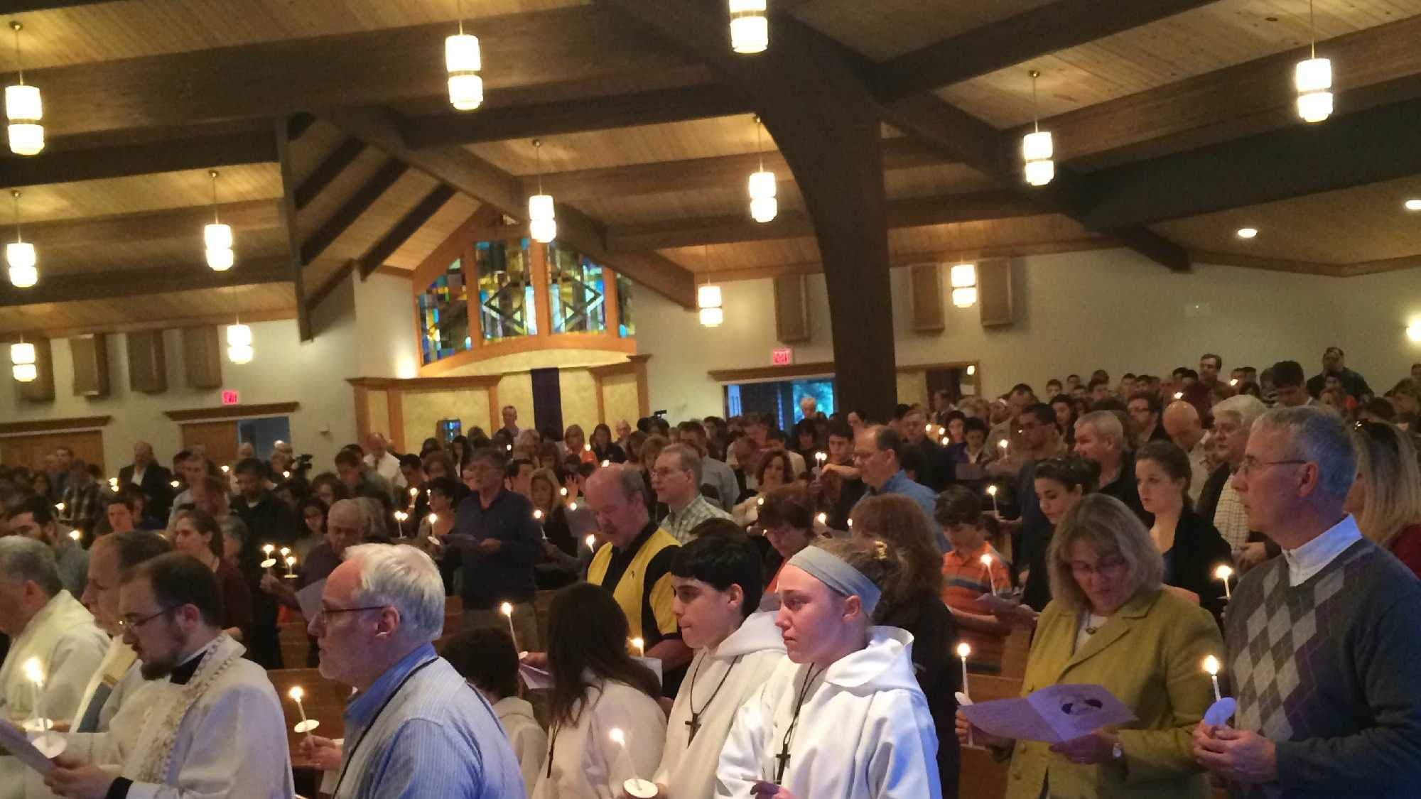 Hundreds gather at Mother of the Sorrows Church to pray for the victims of the Franklin Regional High School stabbing