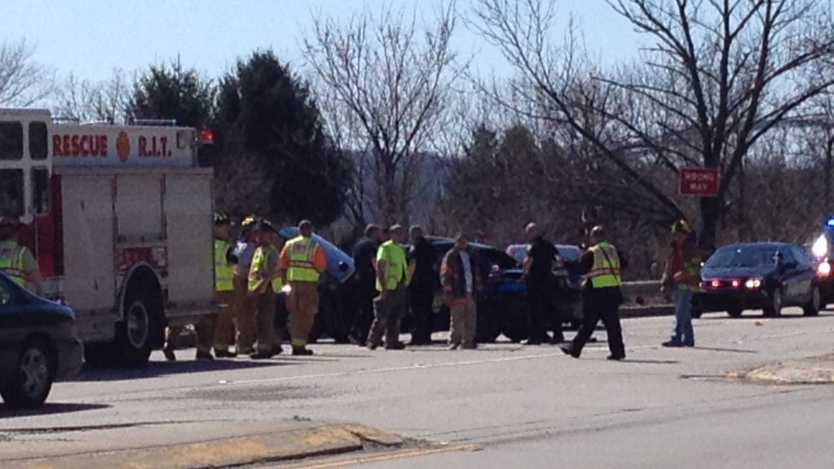 Crash scene on Route 65 in Kilbuck Township