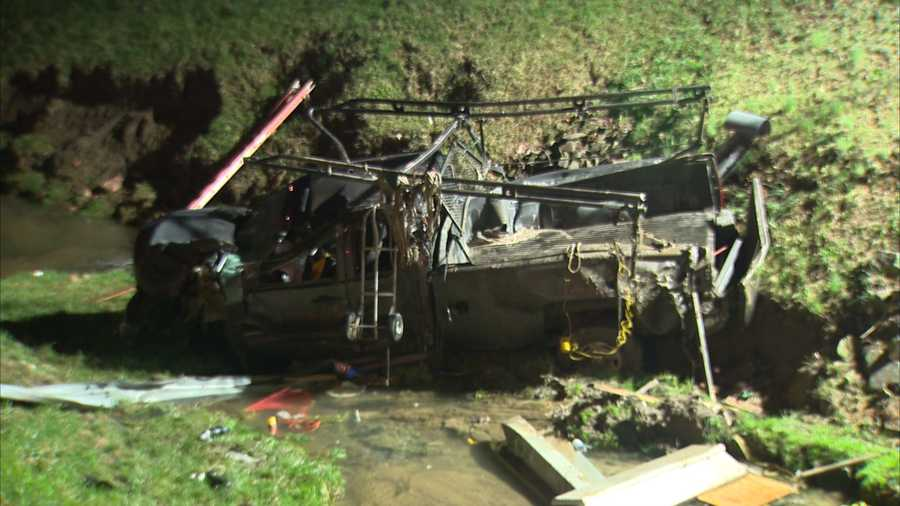This truck came to rest in a creek after an overnight crash.
