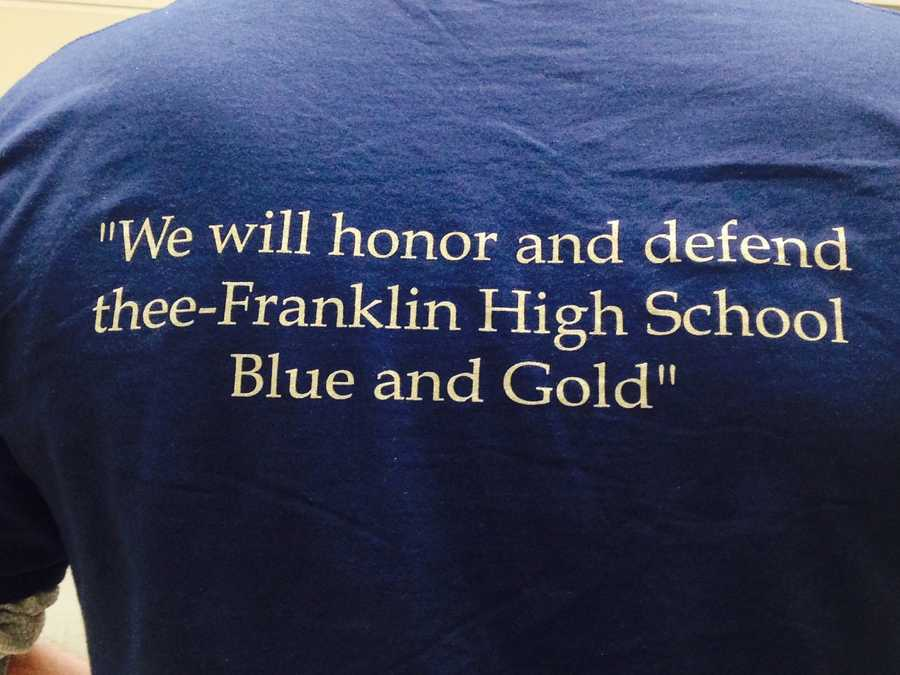 """Staff members wore """"FR Strong"""" shirts to welcome students back to Franklin Regional High School. These photos were provided by the school district."""
