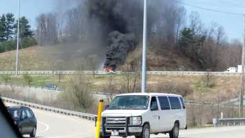 WTAE Facebook fans shared these pictures of a car fire on Route 22 near Route 66 in Delmont. Westmoreland County 911 dispatchers said nobody was injured.