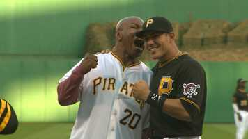 "Mike Tyson takes a ""bite"" out of Pirates catcher Tony Sanchez"