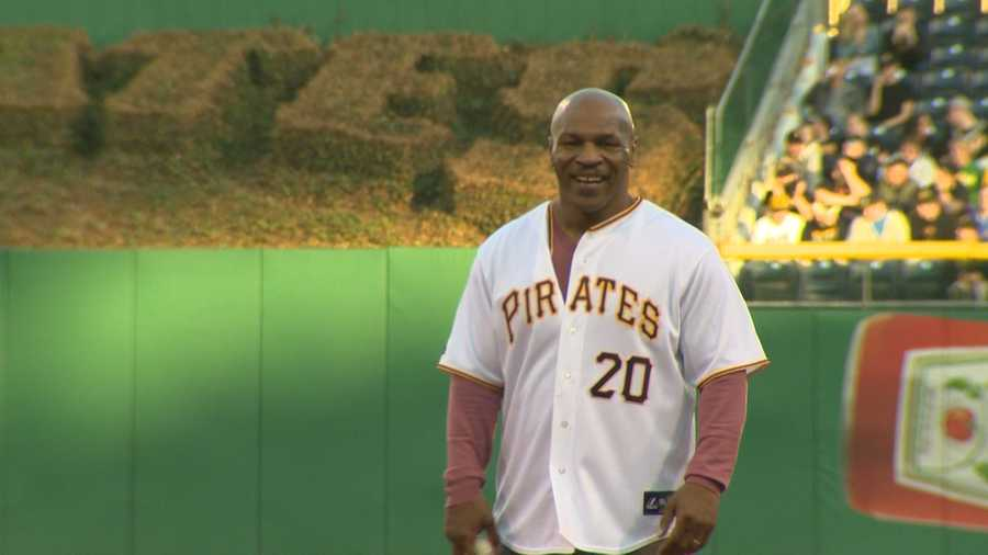 Former heavyweight boxing champion Mike Tyson threw out the first pitch before the Pirates-Brewers game on April 17, 2014