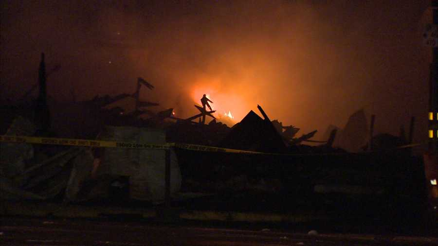 Delisio's Market in Eau Claire, Butler County, was destroyed Thursday night when fire tore through the building. No injuries were reported.