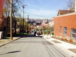 Reed Street, as seen from Miller Street, looking downhill toward Pride Street and Crawford Street.