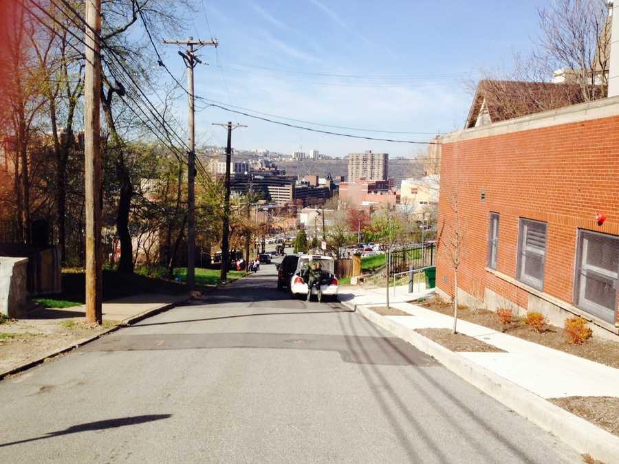 Reed Street, as seen from Miller Street, looking downhill toward Pride Street and Crawford Street.