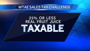 Fruit Juices made with 25% or less Real Fruit Juice are Taxable... Learn More: Click Here