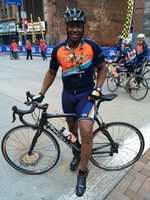 Pittsburgh's Action News 4 reporter Sheldon Ingram rode alongside the hand-crank cyclists.