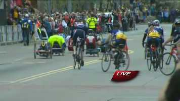"""""""Hand Cranked"""" competitors took off from the finish line escorted by cyclists on the course."""