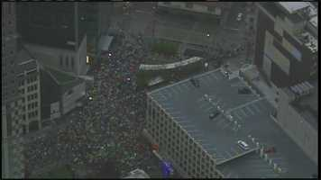 Pittsburgh's Action News Sky 4 over the race course shortly after the official start.