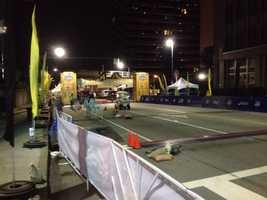 Early morning prep work @ the finish line #PGHMarathon