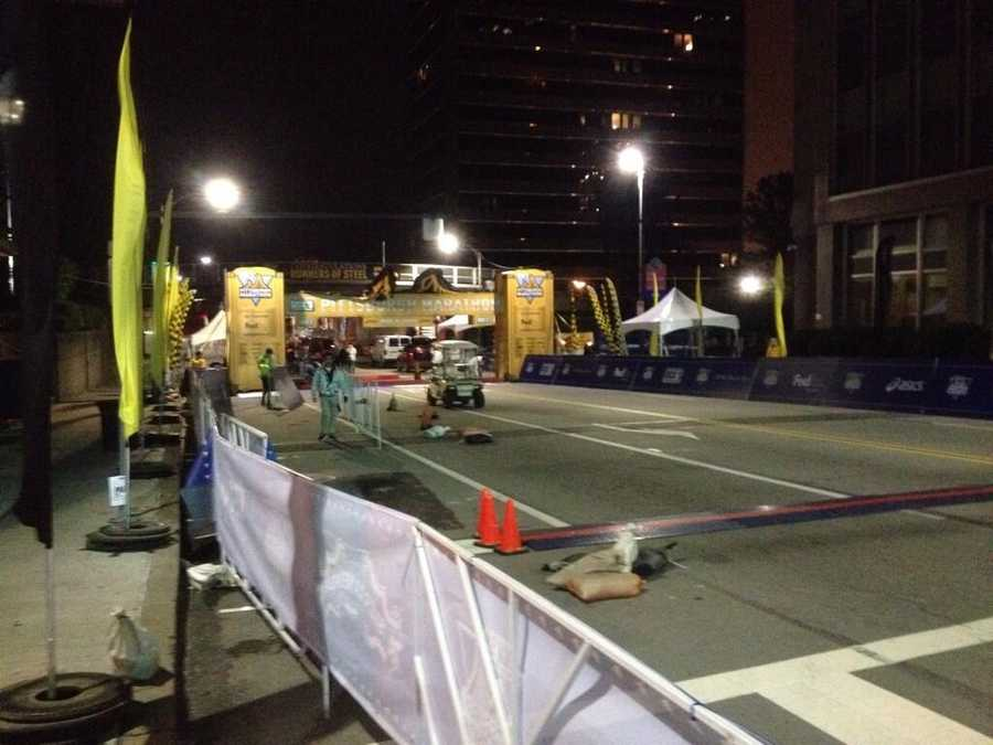 Early morning prep work @ the finish line #PGHMarathon