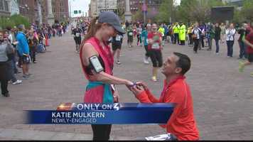"""Joe Sidhom got down on one knee in the middle of the half marathon and put a ring on his girlfriend's finger. """"I couldn't imagine anything better,"""" said the newly-engaged Katie Mulkern."""