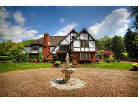 Location: 2649 Haymaker Farm Rd., Murrysville, Pa.This beautiful English Tudor home includes five bedrooms, six bathrooms, and is situated on twelve acres of land. The home is listed for $995K and is featured on realtor.com.