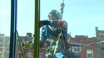 Captain America's shield is his primary weapon. But today, Cap is using a squeegee instead.
