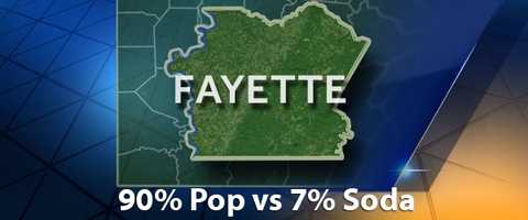 According to PopvsSoda.com survey, Fayette County is 90% Pop vs 7% Soda