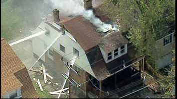 Sky 4 flies over the fire scene on Crosby Avenue in Dormont.