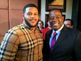 Aaron Donald and Pittsburgh's Action News 4 anchor Andrew Stockey
