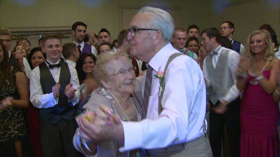 Edna and Joe shared the night's first dance on the dance floor to a Frank Sinatra song.