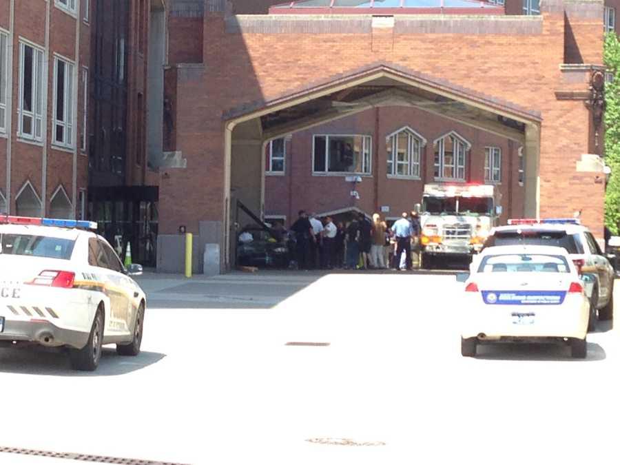 A car crashed into UPMC Mercy hospital on Tuesday morning.