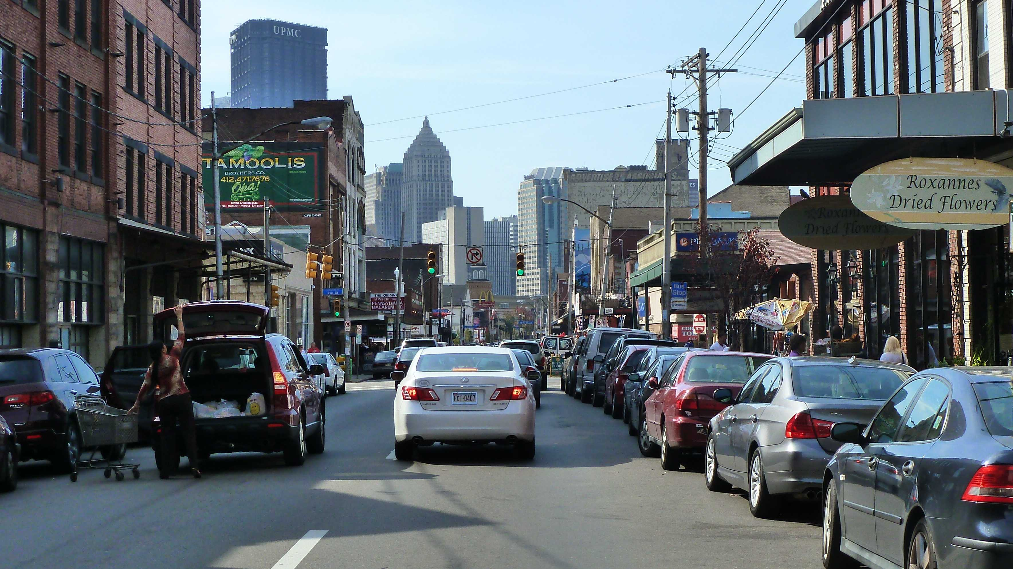 Traffic on Penn Avenue in the Strip District.