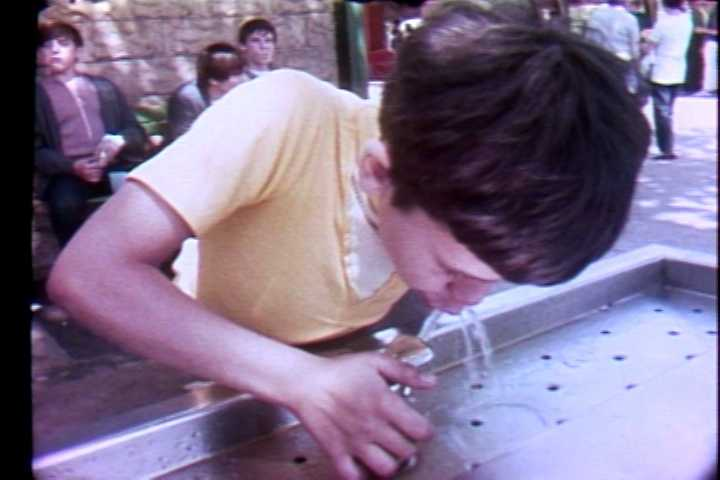 Taking a sip from the Kennywood Park water fountain in 1972.
