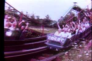 The Racer roller coaster in 1979.