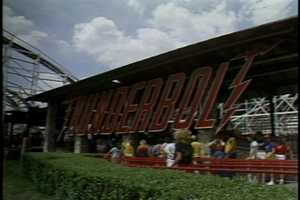 The Thunderbolt roller coaster in 1983.