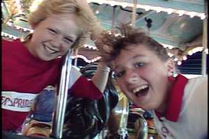 Riding the Grand Carousel in 1987.