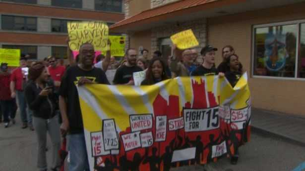 Some fast-food employees who want higher wages walked off the job and protested outside McDonald's on Allegheny Avenue on Pittsburgh's North Side.