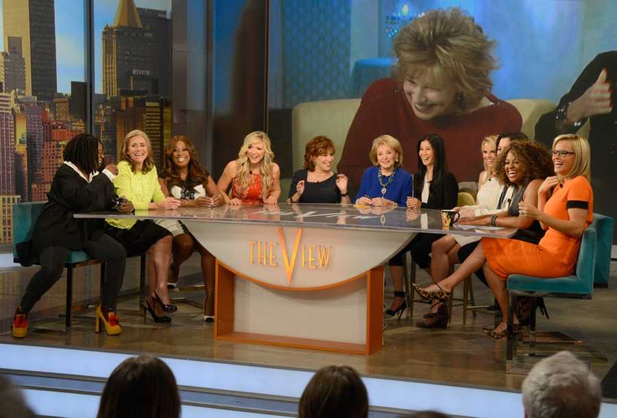 """Broadcasting legend Barbara Walters says goodbye to daily television with her final co-host appearance on THE VIEW,on May 16, 2014. A surprise appearance from Oprah Winfrey leads to one historic, monumental television event when Winfrey does a landmark roll call of introducing 25 incredible female journalists who were influenced by Barbara Walters. Plus the day earlier, for the first time in television history, all 11 co-hosts of ABC's """"The View,"""" present and past, shared the same stage, live. (Photo: ABC/ Ida Mae Astute)"""