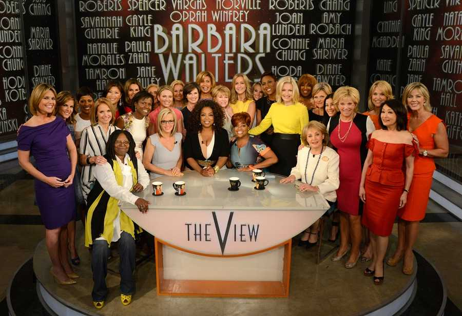 Broadcasting legend Barbara Walters says goodbye to daily television with her final co-host appearance on THE VIEW,on May 16, 2014. A surprise appearance from Oprah Winfrey leads to one historic, monumental television event when Winfrey does a landmark roll call of introducing 25 incredible female journalists who were influenced by Barbara Walters.