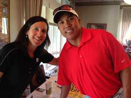 "Former Steeler Hines Ward, traveling the country now for NBC Sports, has chaired this tournament since after his rookie year. He has been so busy, he was not able to visit ""Dancing with the Stars"" this year. Remember when he won the Mirror Ball Trophy? His good friend, Steelers community relations manager Michele Rosenthal, was there to greet him this morning!"