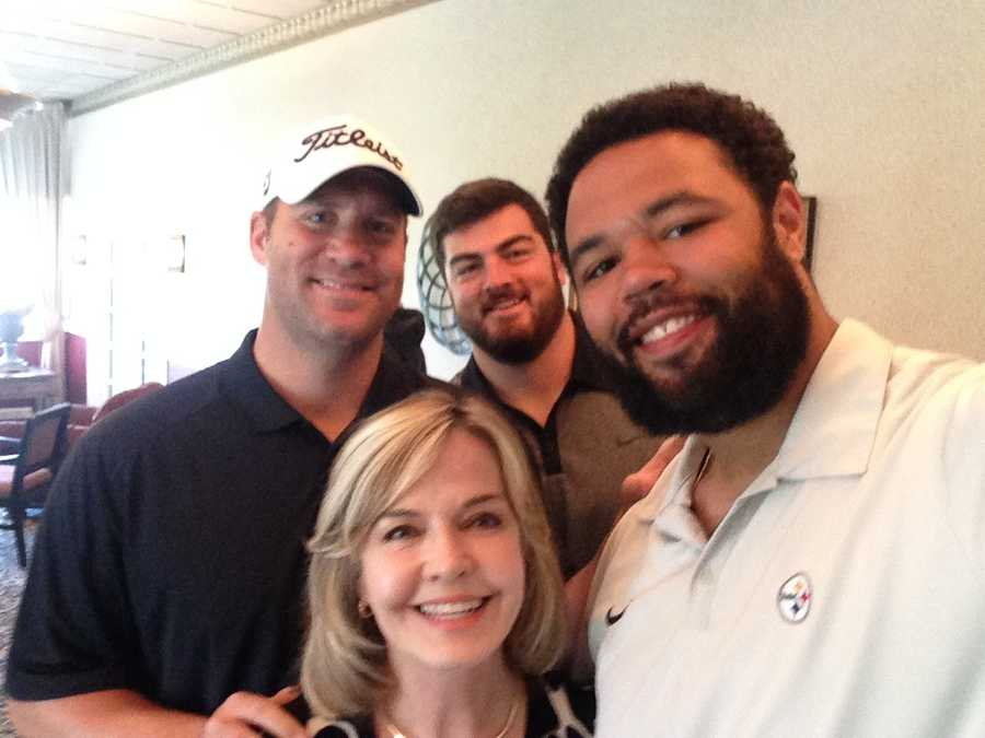 Steelers quarterback Ben Roethlisberger never misses the tournament. He insisted on this selfie with his offensive linemen, Mike Adams and David DeCastro. Ben said Mike's arms are so long it wouldn't look like a selfie!