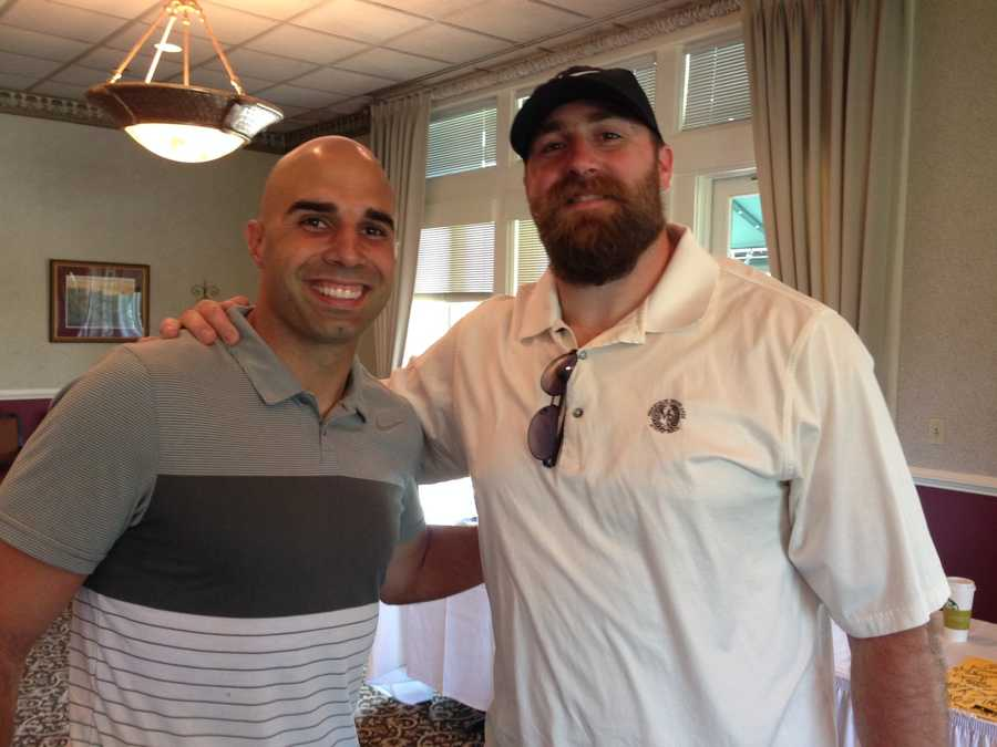 Steelers quarterback Bruce Gradkowski and defensive end Brett Kiesel ready to hit the links with some lucky golfers!