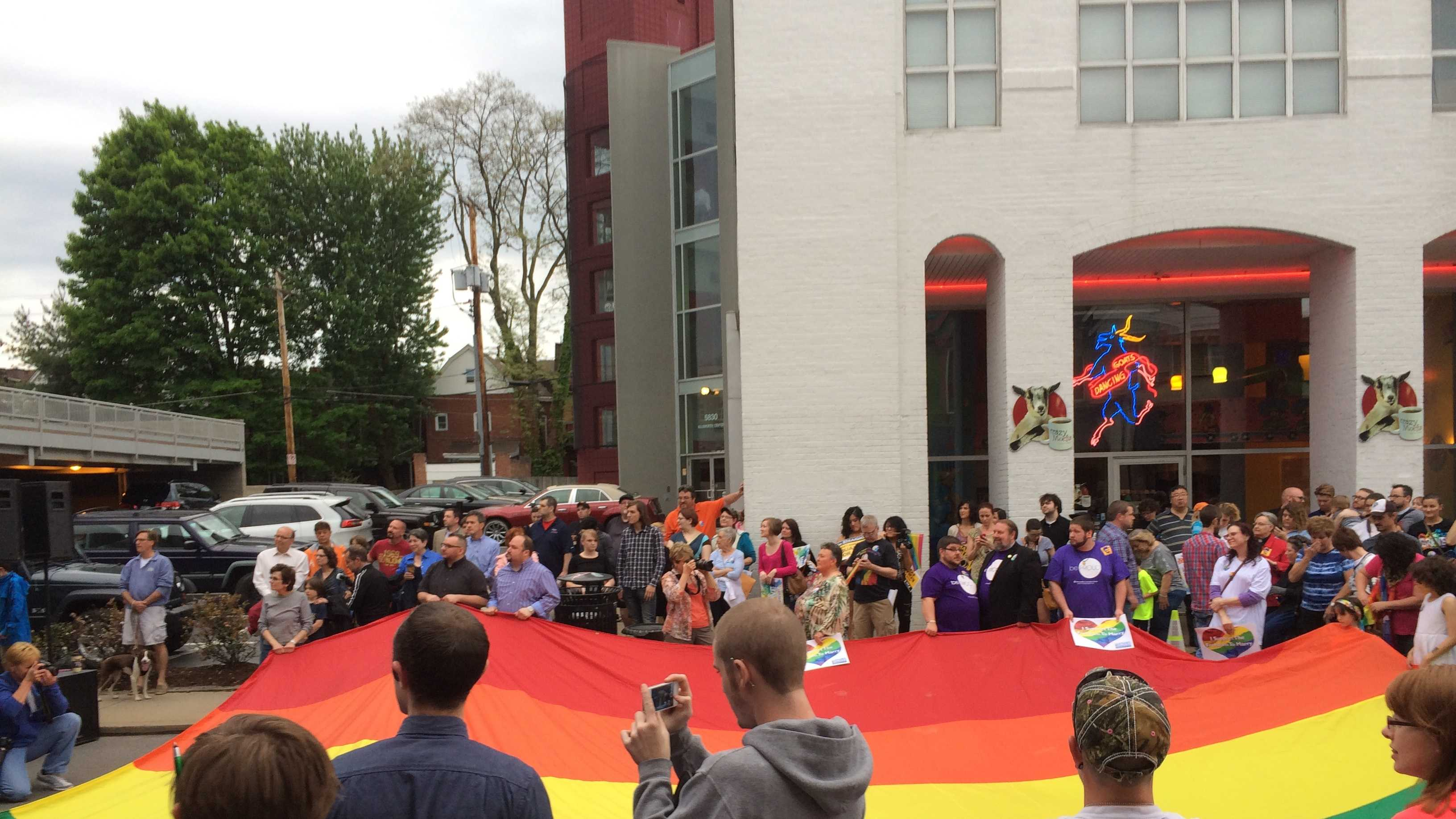 A rally for the LGBT community is held Tuesday night in Shadyside