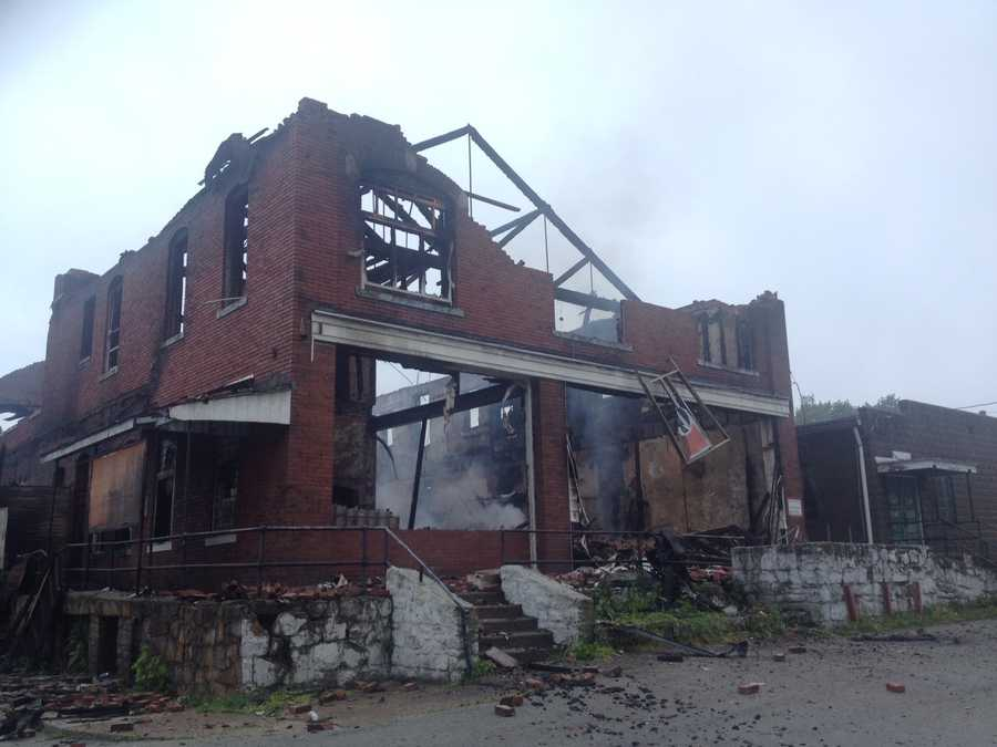 A fire tore through the building that formerly housed the Mystic Inn in Republic, Fayette County.