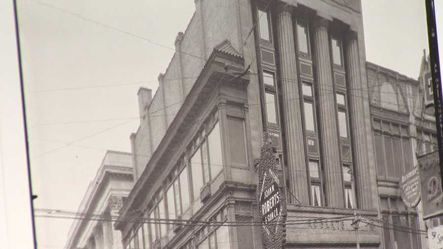 Here's a photo of the Roberts Building when it housed John M. Roberts & Sons Jewelers.