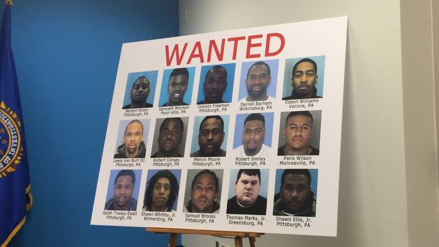 The U.S. Attorney's Office in Pittsburgh says these people are wanted in connection with the investigation of six Western Pennsylvania heroin rings.