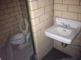 An old bathroom inside the Squirrel Hill Tunnel.