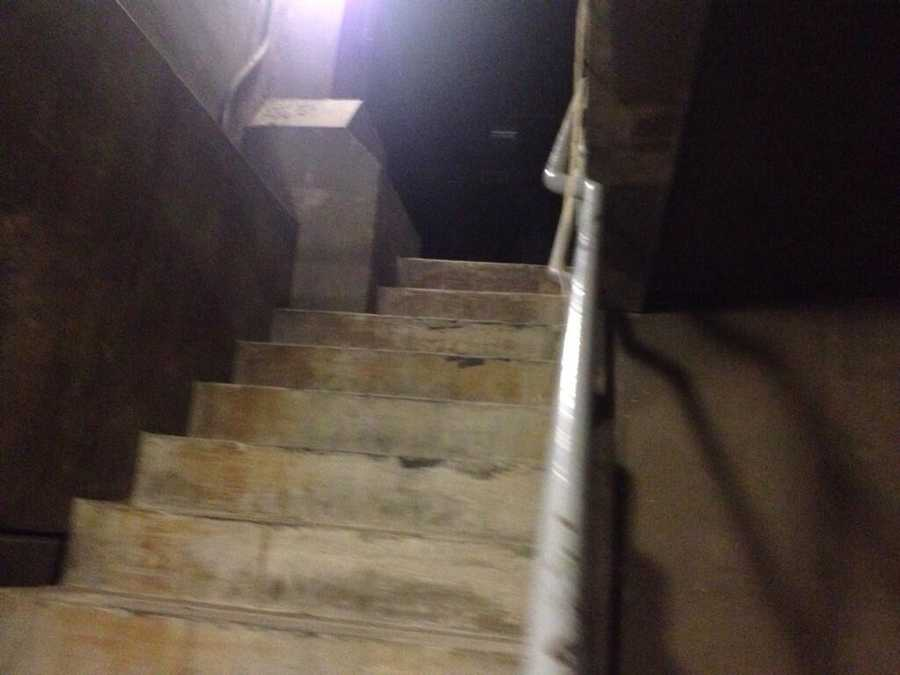 A spooky staircase inside the Squirrel Hill Tunnel.