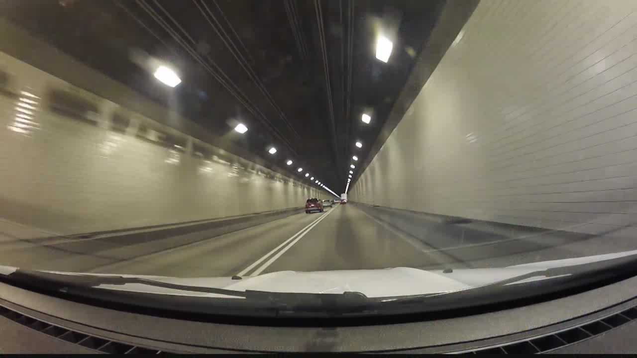 Driving inside the Squirrel Hill Tunnel.