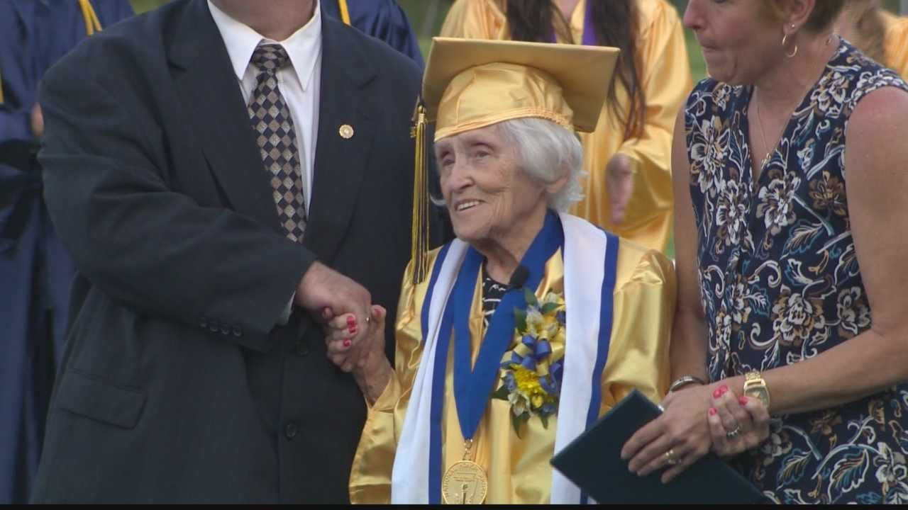 Standing on stage at the Beth-Center High School graduation ceremony, Ruth Brown Ross proves you're never too old to get that diploma.