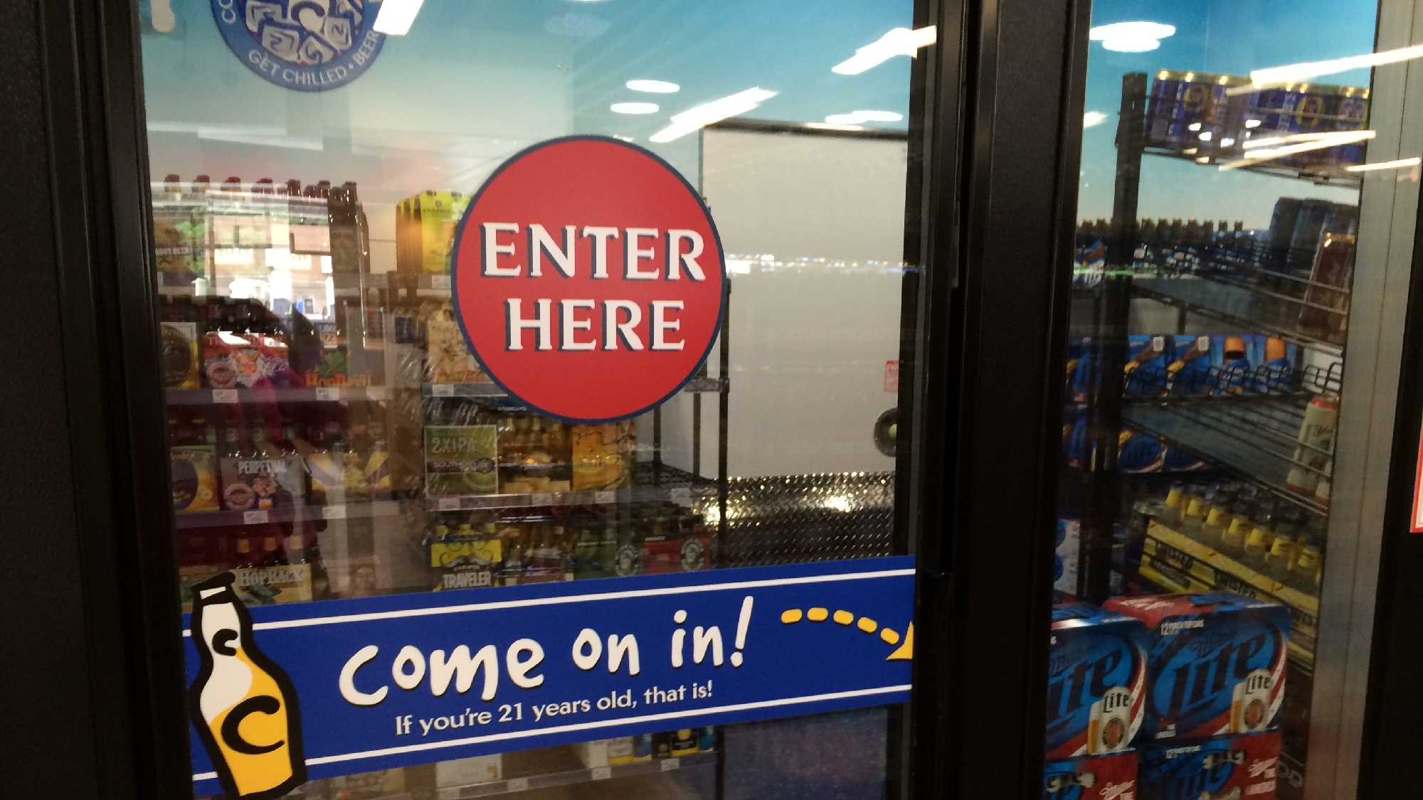 A walk-in beer cave is open to GetGo customers.